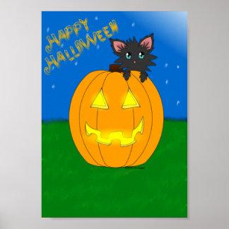 Santifique el poster del feliz Halloween del gatit Póster