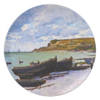 Santo-Adresse, barcos de pesca en la orilla Monet Platos