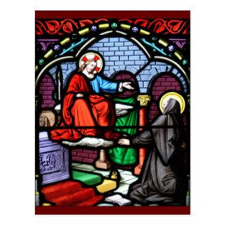 Santo Angela Merici Vision del vitral de Jesús Postales