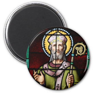 Santo Anselm del arte del vitral de Cantorbery Imán Redondo 5 Cm