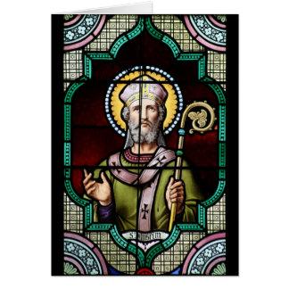 Santo Anselm del arte del vitral de Cantorbery Tarjeta De Felicitación