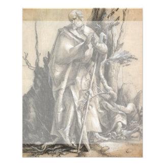 """Santo barbudo en un bosque de Albrecht Durer Folleto 4.5"""" X 5.6"""""""
