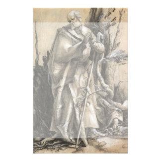"""Santo barbudo en un bosque de Albrecht Durer Folleto 5.5"""" X 8.5"""""""