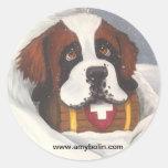 Santo Bernards, perro, St Bernard del tiempo de la Etiquetas Redondas