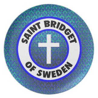 Santo Bridget de Suecia Plato Para Fiesta