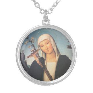 Santo Catherine de Siena Neckalce Colgante Redondo