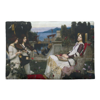 Santo Cecilia que se sienta en el jardín