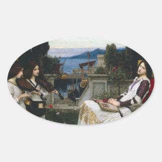 Santo Cecilia que se sienta en el jardín Pegatina Ovalada