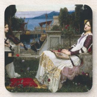 Santo Cecilia Serenaded por ángeles con los violin Posavasos De Bebidas