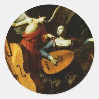 Santo Cecilia y el ángel de Carlo Saraceni Pegatina Redonda