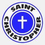 Santo Christopher Pegatina Redonda