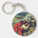Santo Christopher. Por Hieronymus Bosch (el mejor Llavero Redondo Tipo Pin