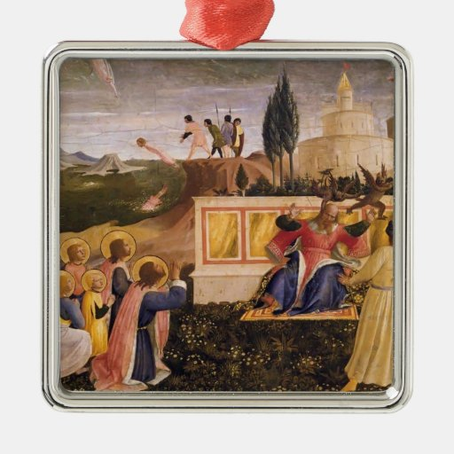 Santo Cosmas, santo Damián del Fra Angelico- Adorno Cuadrado Plateado