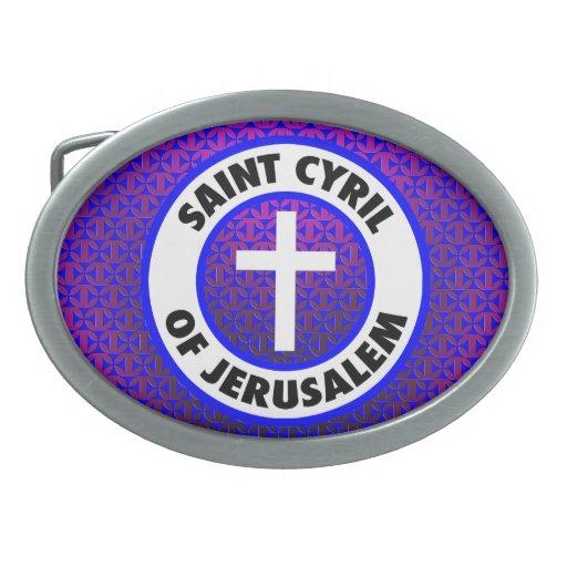 Santo Cyril de Jerusalén Hebilla Cinturon Oval