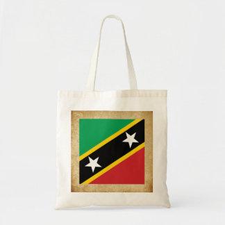 Santo de oro San Cristobal y bandera de Nevis Bolsa Tela Barata