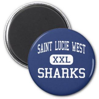 Santo del oeste Lucie del puerto de los tiburones  Imán Redondo 5 Cm