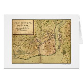 Santo Domingo Dominican Map 1805 Greeting Card