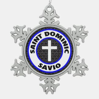 Santo Dominic Savio Adorno De Peltre En Forma De Copo De Nieve