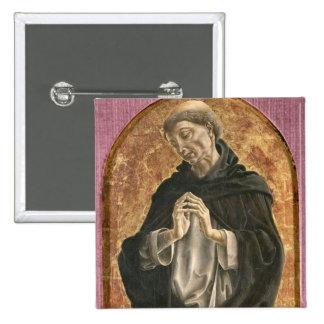 Santo Dominic (tempera en el panel) Pin Cuadrado