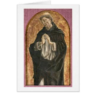 Santo Dominic tempera en el panel Tarjeton