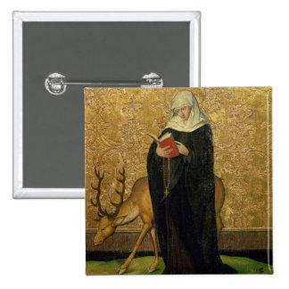 Santo femenino con un macho (aceite en el panel) pin cuadrada 5 cm