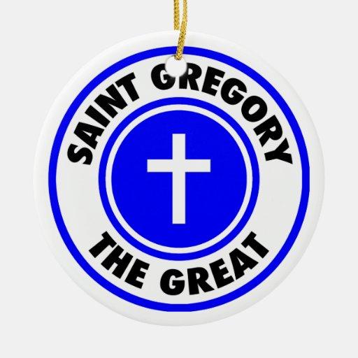 Santo Gregory el grande Adorno Redondo De Cerámica