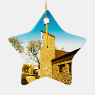 Santo grial adorno navideño de cerámica en forma de estrella
