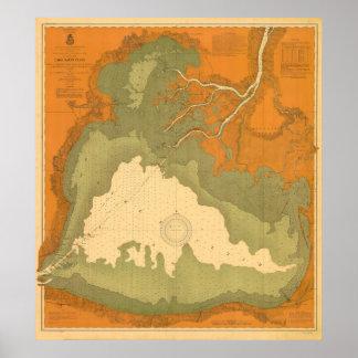 Santo histórico Clair carta náutica del lago 1903 Poster