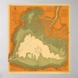 Santo histórico Clair, carta náutica del lago 1903 Póster