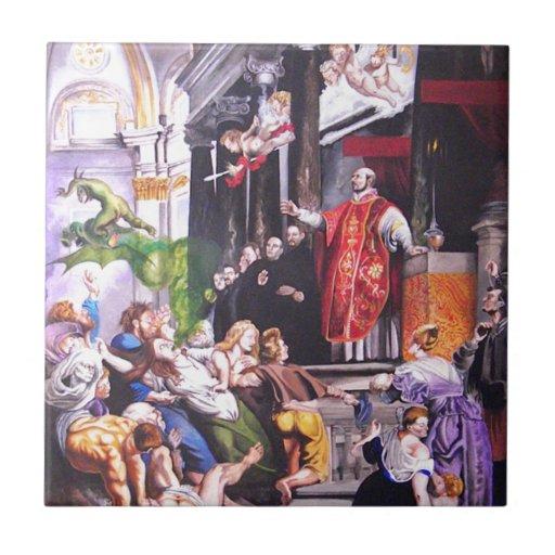 Santo Ignatius Loyola Azulejo Cuadrado Pequeño