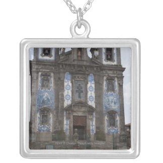 Santo Ildenfonso Church With Tile Panels Silver Plated Necklace