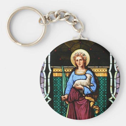 Santo Inés (Inés de Roma) - arte del vitral Llaveros
