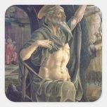 Santo Jerome, c.1470 Calcomanías Cuadradas Personalizadas