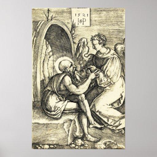 Santo Jerome con el ángel de Sebald Beham Impresiones