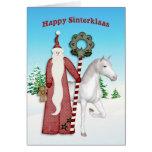 Santo Nicholas, caballo, Sinterklaas feliz Tarjeton