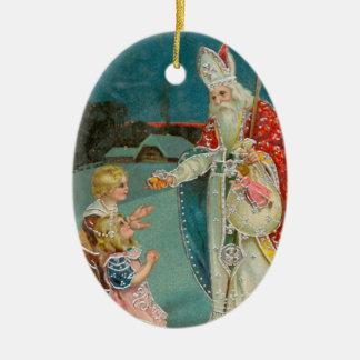 Santo Nicholas del navidad del vintage Adorno Ovalado De Cerámica