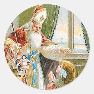 Santo Nicholas del navidad del vintage Etiqueta Redonda