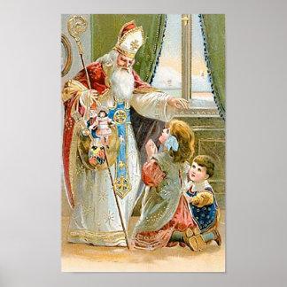 Santo Nicholas del navidad del vintage Póster