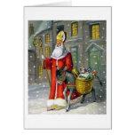 Santo Nicholas del vintage y tarjeta de felicitaci