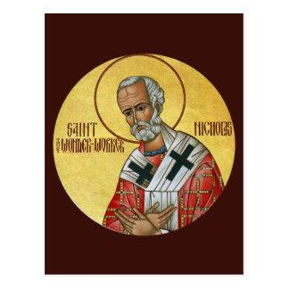 Santo Nicholas la tarjeta del rezo del Postal