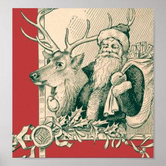 Santo Nick del navidad del reno de Santa del vinta Poster