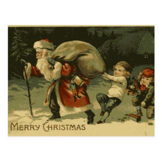 Santo Nick y postal del navidad del vintage de los