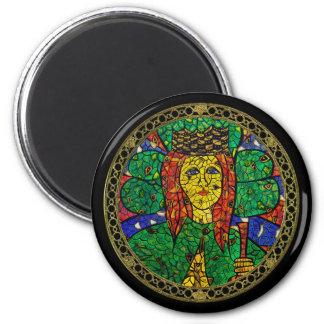 Santo patrón de St Dymphna de la depresión y de la Imán Redondo 5 Cm