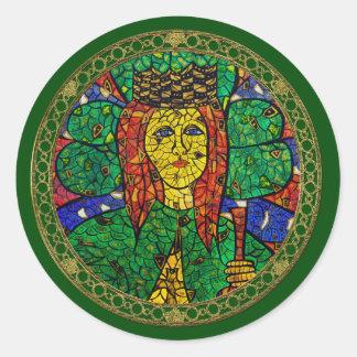 Santo patrón de St Dymphna de la depresión y de la Pegatina Redonda