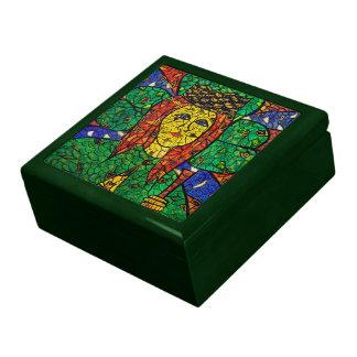 Santo patrón del St Dymphna de la depresión y de Caja De Regalo Cuadrada Grande