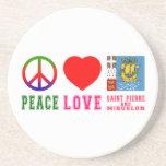 Santo Pedro y Miquelon del amor de la paz Posavasos Diseño