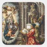 Santo que pinta Madonna y a Jesús Pegatina Cuadrada