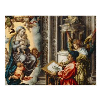 Santo que pinta Maria y al bebé Jesús Postal