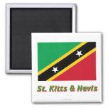 Santo San Cristobal y bandera de Nevis con nombre Imanes De Nevera