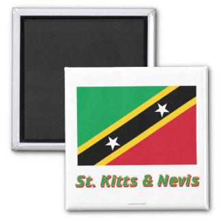 Santo San Cristobal y bandera de Nevis con nombre Imán Cuadrado